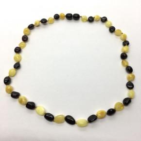 Vişne ve Opak Sarı Renkte Yaprak/Arpa Kesim Taşlı Kehribar Kolye Büyük Boy 0046