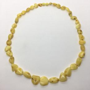 Opak Sarı Renk Yaprak Kesim Taşlı Kehribar Kolye Büyük Boy 0051