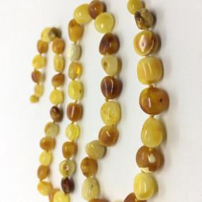 Opak Sarı  ve Kahve Renk Damla Kesim Taşlı Kehribar Kolye Büyük Boy 0053