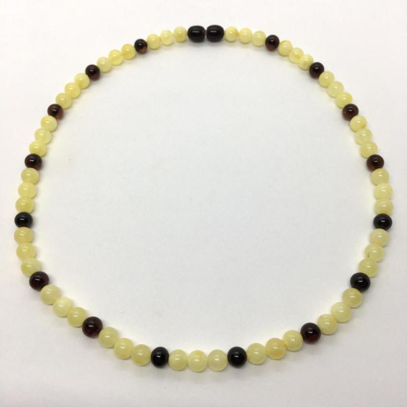 Opak Sarı ve Vişne Rengi Tam Küre Parlak Taşlı Yetişkin Boy Amber Kolye  0098