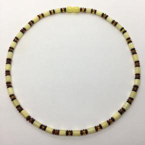 Opak Sarı ve Parlak Vişne Konyak Rengi Silindir ve Disk Kesim Kolye Büyük Boy 0131
