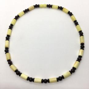 Opak Sarı ve Parlak Vişne Rengi Silindir ve Yuvarlak Kesim Kolye Büyük Boy 0132
