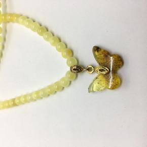 Opak Sarı Rengi, Kelebek Figür Uçlu, Tam Yuvarlak Kesim Kolye Büyük Boy 0135