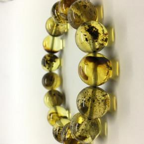Açık Yeşil Renkte Tam Küre Kesim Yuvarlak Taşlı Kehribar Bileklik Büyük Boy 0205