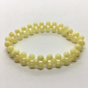Opak Sarı ve Vişne veya sadece Opak Sarı Tam Yuvarlak Küre Kesim Kehribar Bileklik Büyük Boy 0209