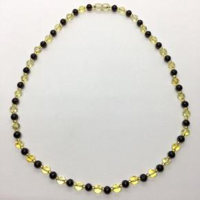 Parlak Sarı ve Vişne Renk Tam Yuvarlak Küre Kesim Yuvarlak Taşlı Kehribar Kolye Büyük Boy 0280
