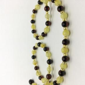 Parlak Sarı ve Vişne Renk Tam Yuvarlak Küre Kesim Yuvarlak Taşlı Kehribar Kolye Büyük Boy 0281