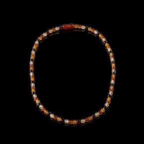 Çok Renkli Pırlanta Kesim Yuvarlak Taşlı Kehribar Kolye Büyük Boy 0143