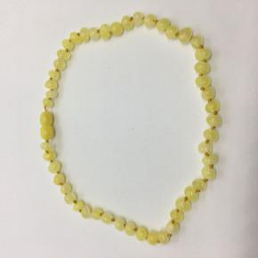 Limon Opak Renk Yuvarlak Barok Kesim Parlak Kehribar Bebek Kolyesi. Model 0286C